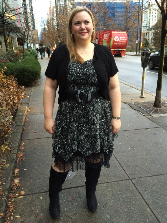 Dress - Tango Mango via Lucy Bolero - Ricki's Belt - Lee Lee's Valise Boots - Lane Bryant