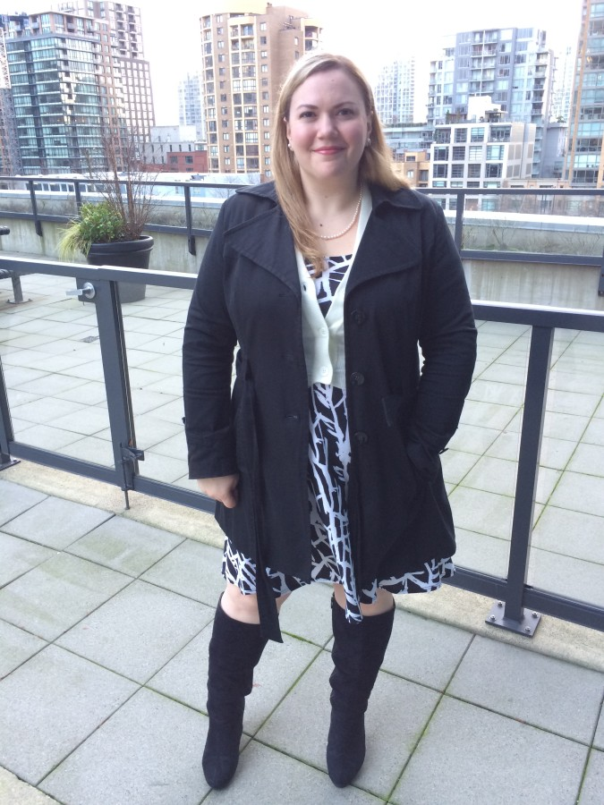 Dress - Addition Elle Coat - Ricki's Cardigan - ModCloth Boots - Lane Bryant