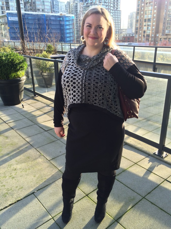 Top - Joseph Ribkoff via Bodacious Skirt - Ricki's Boots - Lane Bryant Bag - Michael Kors
