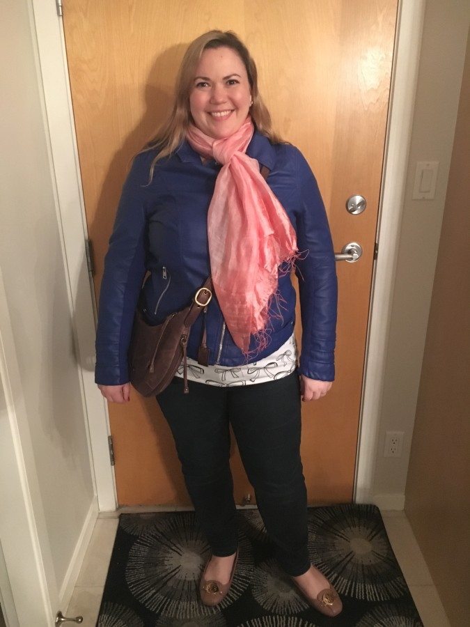 Coat, Jeans - Addition Elle T-shirt - Ricki's Scarf - Craftlink via Bodacious Bag - Frye via Nordstrom Shoes - Michael Kors
